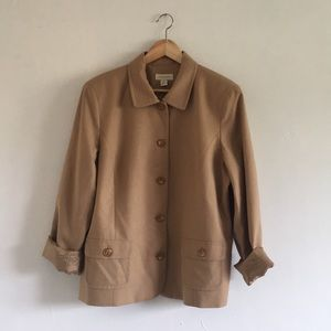 VTG Camel Color Button Up Wool Jacket
